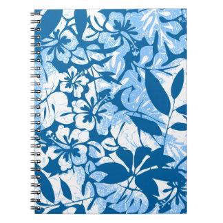 Tropisches beunruhigtes blaues Blumen Notizblock