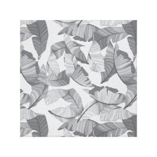 Tropisches Blatt-grauer Entwurf Leinwanddruck