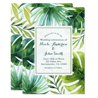 Tropisches Blätter-hawaiische 12,7 X 17,8 Cm Einladungskarte