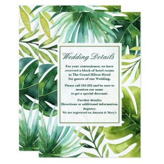 Tropisches Blätter-hawaiische 8,9 X 12,7 Cm Einladungskarte