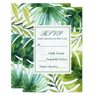 Tropisches Blätter-hawaiisches Sommer-Hochzeit 8,9 X 12,7 Cm Einladungskarte