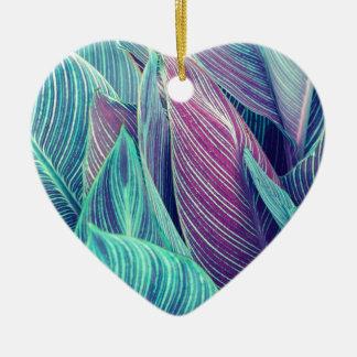 Tropisches Blätter Keramik Herz-Ornament