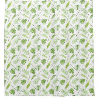 Tropisches Blätter-Muster - Duschvorhang