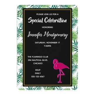 Tropisches Blätter-Muster und rosa Flamingo-Party Karte