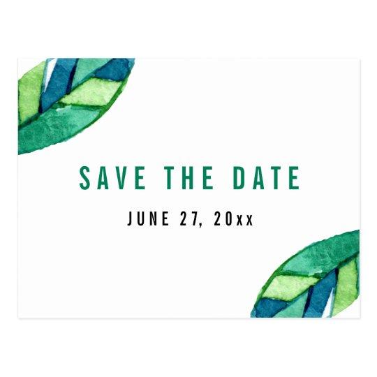Tropisches Blätter-Save the Date Postkarten-Grün Postkarte