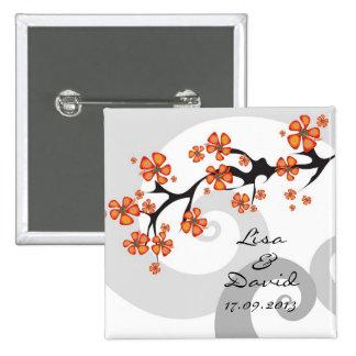 Tropisches Blumen-Fusions-Strudel-Save the Date/Ge Quadratischer Button 5,1 Cm