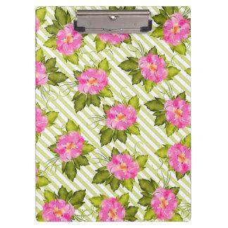 Tropisches Blumen-Grün Stripes Klemmbrett