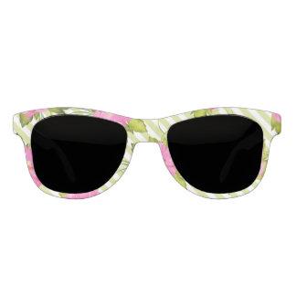 Tropisches Blumen-Grün Stripes Sonnenbrille-Rauch Brille