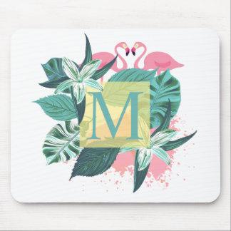 Tropisches Blumenhochzeits-Monogramm | Mousepad