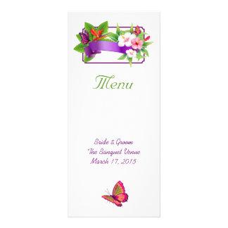 Tropisches Blumenschmetterlings-Hochzeits-Menü Werbekarte