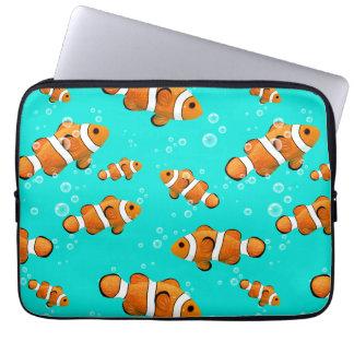Tropisches Clownfish u. Blasen-Muster Laptop Sleeve