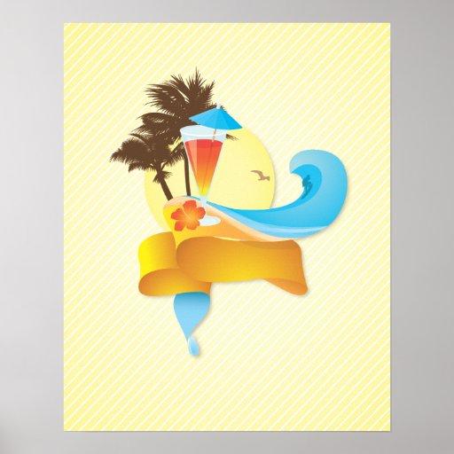 Tropisches Cocktail und Wellen Plakat
