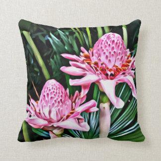 Tropisches doppeltes Ingwer-Blumen-Kissen Kissen