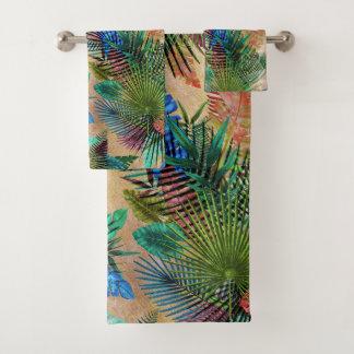 Tropisches Farn-, Palmen-und Bananen-Blätter Badhandtuch Set