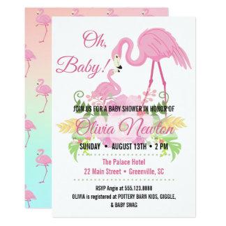 """Tropisches Flamingo-""""oh Baby!"""" Duschen-Einladung"""