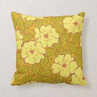 Tropisches gelbes Blumen-Muster Kissen