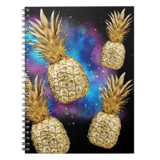 Tropisches goldenes Ananasgalaxienotizbuch Spiral Notizblock
