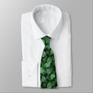 Tropisches grünes Palmblatt-Sommer-Muster auf Personalisierte Krawatten