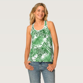 Tropisches grünes Palmblatt-Sommer-Muster Tanktop