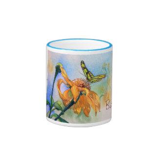 Tropisches grünes Schmetterlings-Aquarell Ringer Tasse