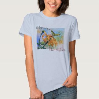 Tropisches grünes Schmetterlings-Aquarell T Shirts
