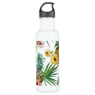 Tropisches Hawaii-Thema-Aquarell-Ananasmuster Edelstahlflasche