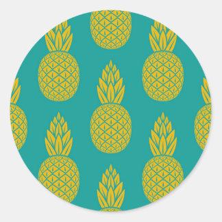 Tropisches hawaiisches Ananas-Muster-runder Runder Aufkleber
