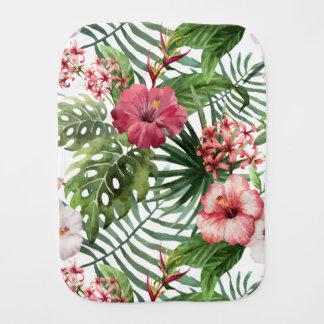 Tropisches Hibiskus-Blumen-Laubmuster Baby Spucktuch