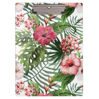 Tropisches Hibiskus-Blumen-Laubmuster Klemmbrett