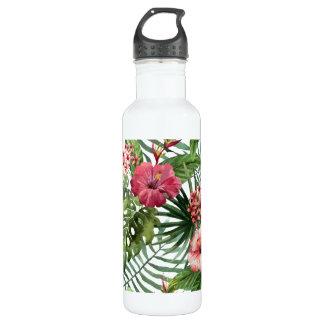 Tropisches Hibiskus-Blumen-Laubmuster Trinkflasche