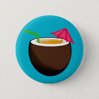 Tropisches Kokosnuss-Getränk Runder Button 5,1 Cm