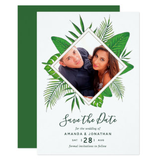 Tropisches Laub des Watercolor, das Save the Date Karte