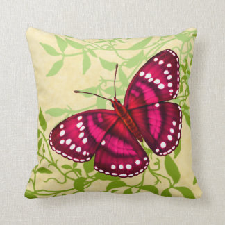 Tropisches magentarotes rosa Schmetterlings-Kissen