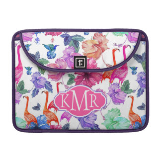 Tropisches Monogramm des Aquarell-Muster-| MacBook Pro Sleeve