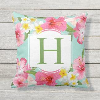 Tropisches Monogramm des Blumen-Muster-| Kissen Für Draußen