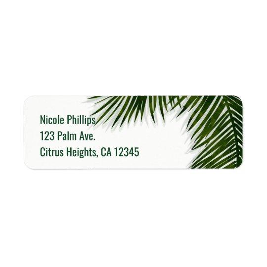 Tropisches Palme-Blatt-elegante Sommer-Einladung Kleiner Adressaufkleber