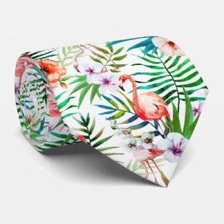 Tropisches Paradies-Flamingo-Blumen-Blätter Krawatte