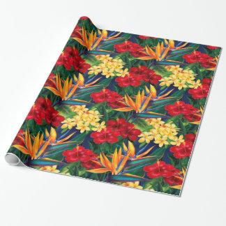 Tropisches Paradies-hawaiisches Blumen ganz über Geschenkpapier