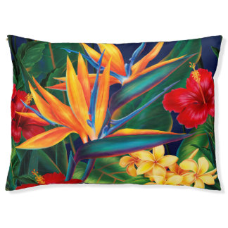 Tropisches Paradies-hawaiisches Blumen Haustierbett
