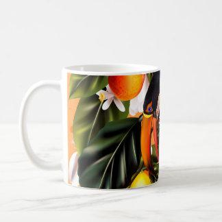 Tropisches Paradies. Toucans und Zitrusfrucht Kaffeetasse