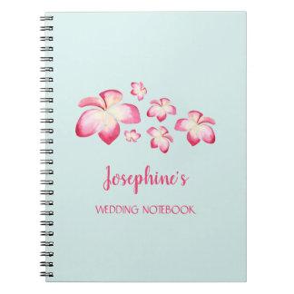 Tropisches Plumeria-Hochzeits-Planungs-Notizbuch Notizblock