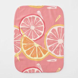 Tropisches rosa Pampelmusen- und Zitronenmuster Baby Spucktuch