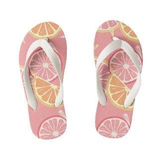 Tropisches rosa Pampelmusen- und Zitronenmuster Kinderbadesandalen