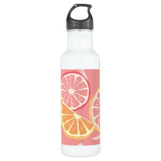 Tropisches rosa Pampelmusen- und Zitronenmuster Trinkflasche