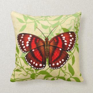 Tropisches rotes Schmetterlings-Kissen Kissen