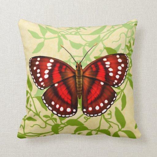 Tropisches rotes Schmetterlings-Kissen