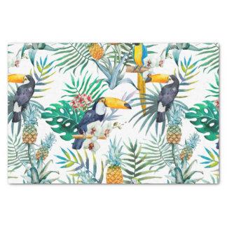 Tropisches Sommer Ananas-Papageien-Vogel-Aquarell Seidenpapier