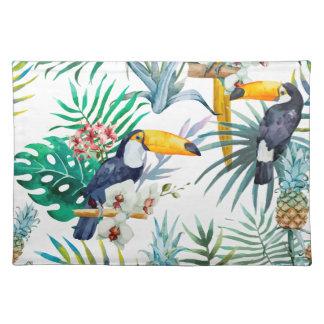 Tropisches Sommer Ananas-Papageien-Vogel-Aquarell Tischset