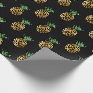 Tropisches Sommerananasfruchtgrünschwarzgold Geschenkpapier