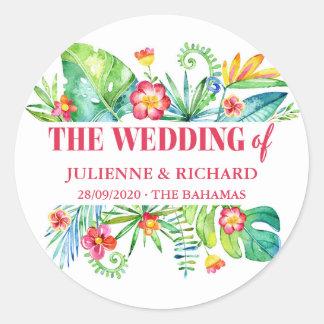 Tropisches Strand-Hochzeit in Runder Aufkleber